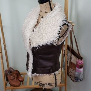 Forever 21 Fur Lined Vest Brown Cream Size Medium